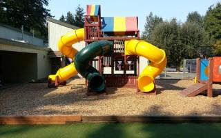 Springtime Daycare Playground Panoramic View #3