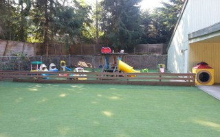 Springtime Daycare Playground Panoramic View #1