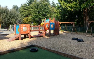 Springtime Daycare Playground Panoramic View #4