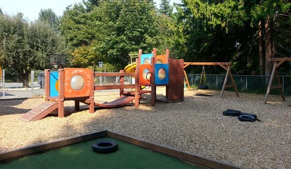 Springtime Daycare Playground Panoramic View #4